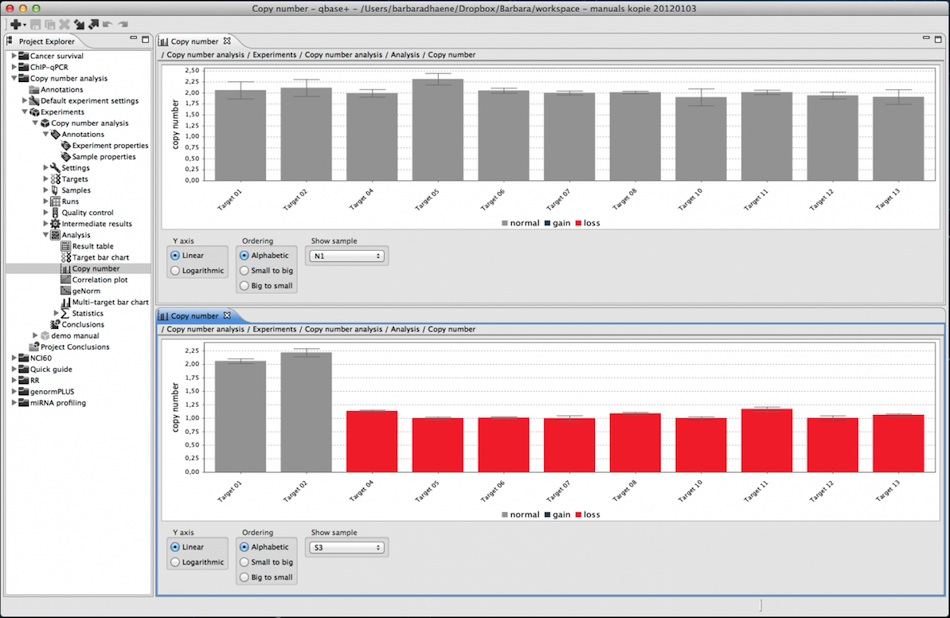 qbase+ CNV analysis screenshot